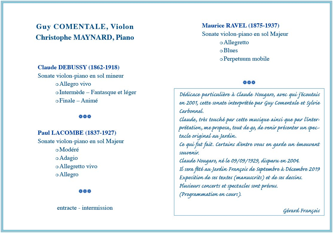 Récital Violon Piano – Guy COMENTALE(violon) et Christophe MAYNARD (piano)